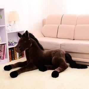 Image 3 - Tamanho grande simulação animal 70x40cm, cavalo, brinquedo de pelúcia, prata, cavalo, boneca para presente de aniversário