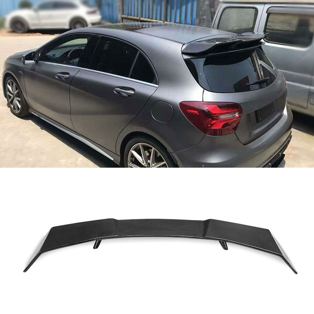 <font><b>A</b></font> <font><b>Class</b></font> Carbon Fiber <font><b>Rear</b></font> Roof <font><b>Spoiler</b></font> Wings for <font><b>Mercedes</b></font> Benz <font><b>W176</b></font> <font><b>A</b></font> <font><b>Class</b></font> A200 A260 A45 AMG 2014-2018 Car Styling FRP Black image