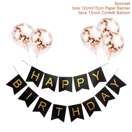 1set Gelukkige Verjaardag Brief Banner Rose Gold Confetti Ballonnen Baby Shower Verjaardagsfeestje Decoraties Jongen Meisje Kids Party Gunsten 2