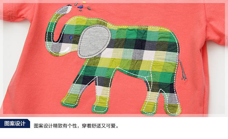 HTB1s.3aiz3z9KJjy0Fmq6xiwXXaR - Little Maven New Summer Children Clothing Cute Short O-neck Elephant Applique Quality Striped Cotton Boys Casual Tshirt