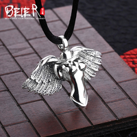Free give black rope Beier 925 silver sterling wing pendant girl figure pendant necklace fashion Jewelry A0519