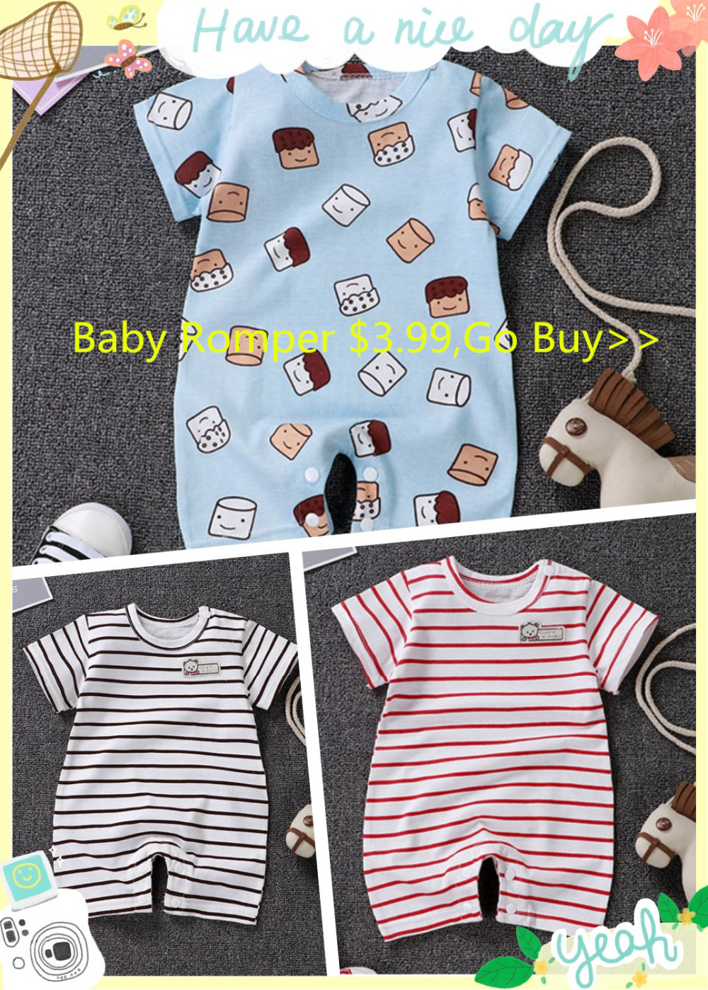 HTB1s.3fNhYaK1RjSZFnq6y80pXaD baby clothing 100% cotton unisex rompers baby boy girls short sleeve summer cartoon toddler cute Clothes