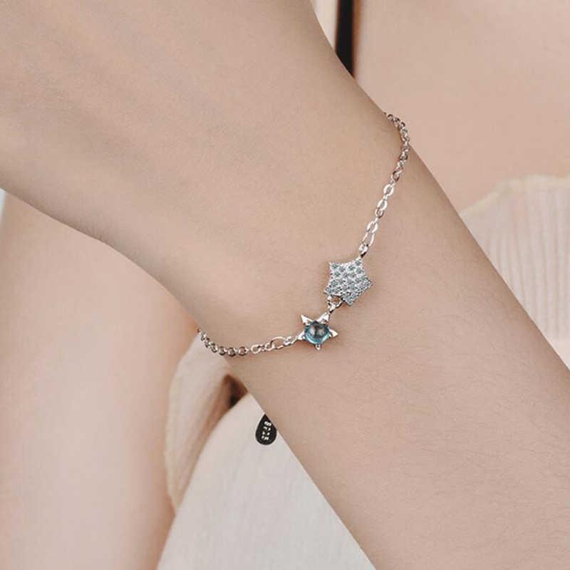 KOFSAC Новые блестящие Кристальные синие браслеты со звездами для женщин ювелирные изделия Модные 925 серебряные браслеты женские аксессуары ко Дню Святого Валентина