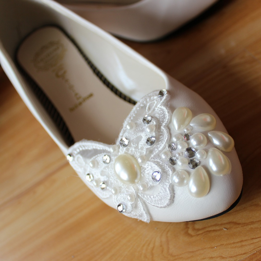 Handmade wedding shoes lace butterfly pearl white flat bridal low-heeled heel bridesmaid women's - LADY'S MMS store