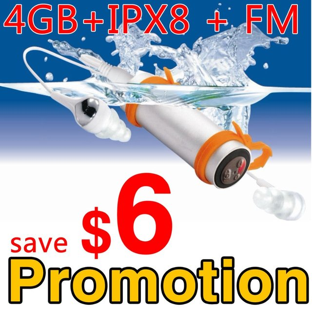 Waterproof mp3 player for swimming 4GB IPX8 water proof with FM Radio  ----- Free Shipping +Promotion
