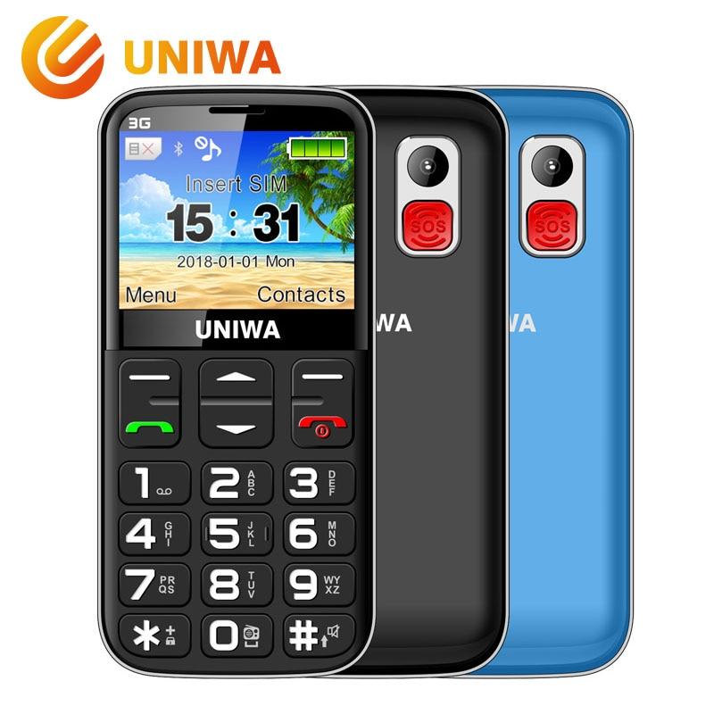 Teléfono móvil viejo 3G botón SOS 1400 mAh 2,31 3D pantalla curvada teléfono móvil linterna antorcha teléfono celular para ancianos Uniwa V808G