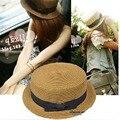 Paja del bowknot pequeño sombrero de paja de viaje de moda de inglaterra mujeres sun summer hat