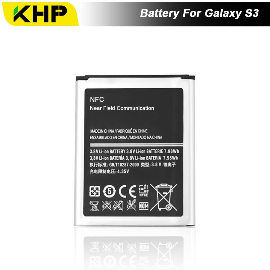 NEW 2017 100% Original KHP Bateria Do Telefone Para Samsung Galaxy S3 I9300 I9305 I9308 EB-L1G6LLU Bateria de Substituição Celular Bateria