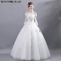 SOCCI Weekend Wedding Dress 2019 Lace Flower Applique White Ivory Fashion Sexy Wedding Dresses For Brides Floor Length Gowns