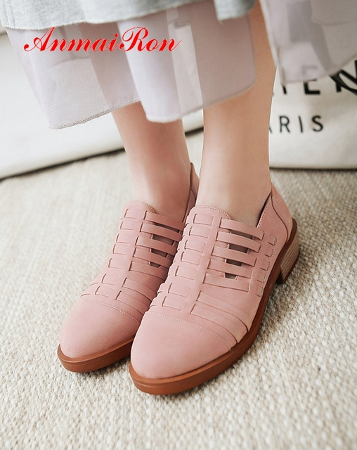 AnmaiRon   Mary Janes Low Heel Pumps 2019 New Arrival  Round Toe  Casual  Slip-On Spring/autumn Women Shoes Size 34-43 LY2533