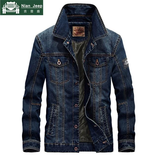 2018 осень Мужская Мода Повседневное бренд высокое качество Ковбойская куртка пальто Для мужчин весна синего джинсового цвета куртки M-4XL куртка-пилот