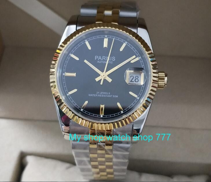 2018 new fashion Sapphire crystal 36mm Parnis Japanese 21 Jeweles Automatic Self Wind Movement luminous men's watches 5Bar 357A