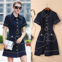 High end Navy Blue Single Breasted Dress 2018 Summer Turn down Collar Short Sleeve Women Dress White Ling Binding Two Pockets