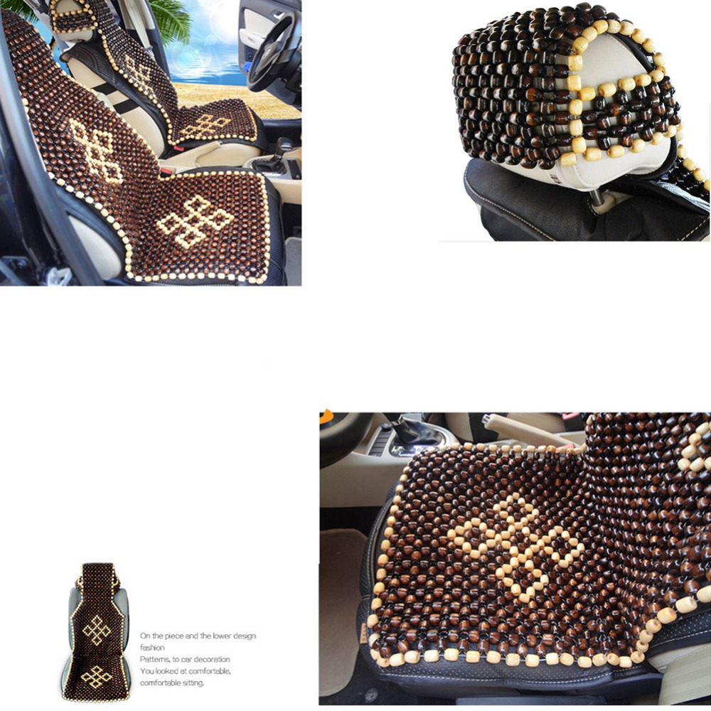Universal Wooden Bead Massage Waist Car Seat Cushion Breathable Front Auto Seat Cover for Summer