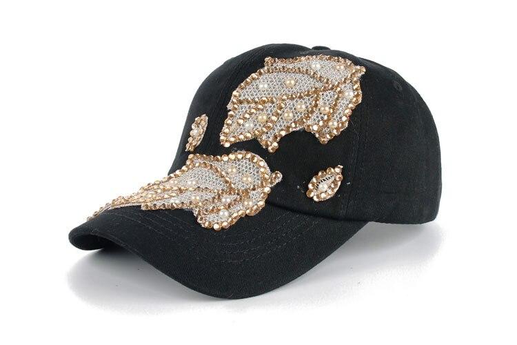Высокое качество оптом и в розницу JoyMay шляпа Кепки Мода Досуг Стразы х/б джинсы лист Кепки S летние Бейсбол Кепки B235 - Цвет: Black