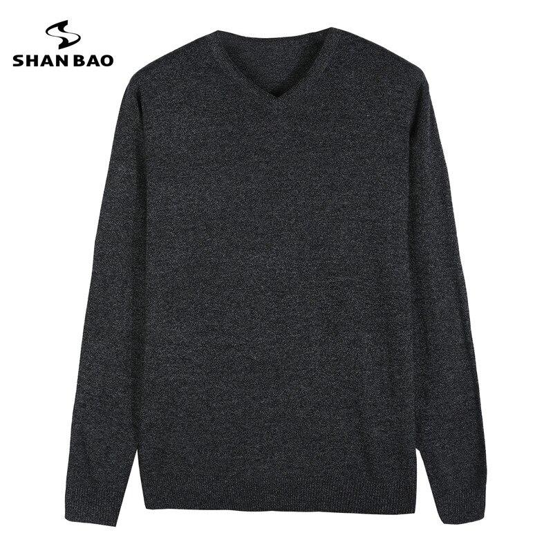 2018 Herbst Und Winter Neue Männer Mode Schlanke V-ausschnitt Einfarbig Baumwolle Pullover Weich Und Bequem Multi-farbe Casual Pullover