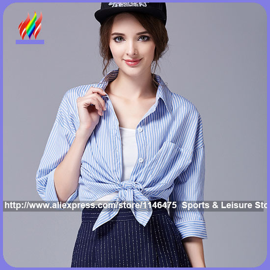 fba62f2a2349dd 2015 Hot Selling New Fashion Women Korean Preppy Style Summer Cute Stripe Light  Blue Top Casual Shirt With Bow Crop Top Blouse