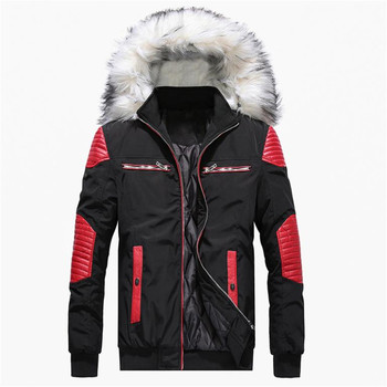 2018 Autumn and winter new men's cotton jacket thick warm casual coat hooded large fur collar down jacket large size