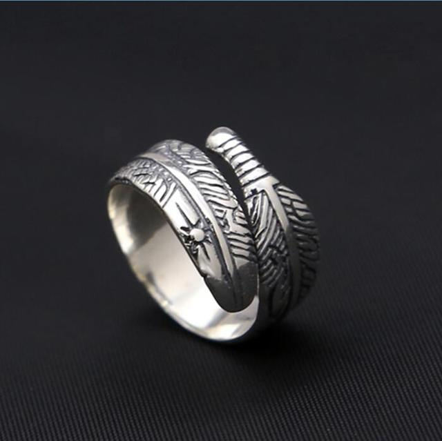 fed960d27 Vintage Indian Style Solid 925 Sterling Silver Rings Men Women Handmade  Feather Cuff Band Simple Designer Silver Jewelry Gifts