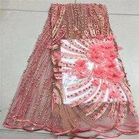 Новые 3D кружевной ткани с цветком Африки кружевной ткани Французский тюль сетки кружевная ткань для платья чистая кружевной ткани с бисеро