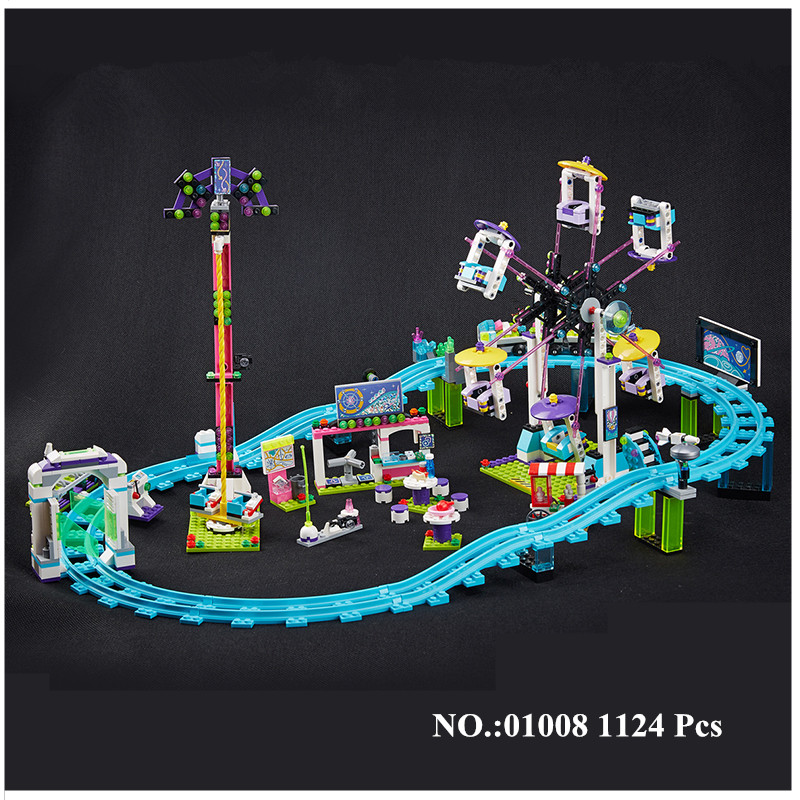H&HXY IN STOCK 01008 1124Pcs Genuine Educational Funny Amusement Park Roller Coaster Building Block Kits Blocks Bricks Girl Toy 2016 new lepin 01008 1124pcs amusement park coaster building kits girl friend blocks bricks toys compatible gift 4113