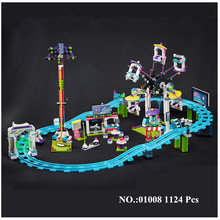 H HXY IN STOCK 01008 1124Pcs Genuine Educational Funny Amusement Park Roller Coaster Building Block