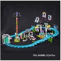 H & HXY EN STOCK 01008 1124 Pcs Véritable Éducatifs Drôle Parc D'attractions Roller Coaster Building Block Kits Blocs Briques fille Jouet
