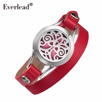 EVERLEAD red leather bracelet Essential Oils Tree of life locket stainless steel pretty lady diffusser gift bracelets for women