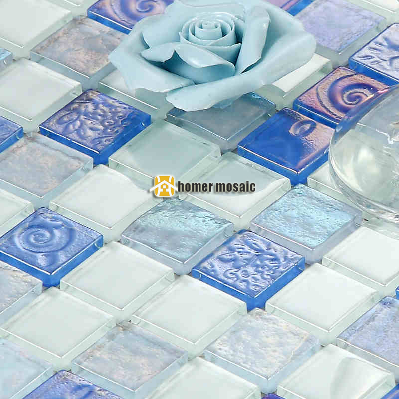 mozaika v obývacím pokoji - Mediterranean style blue crystal glass mosaic tiles for living room kitchen backsplash bathroom fireplace mosaic free shipping