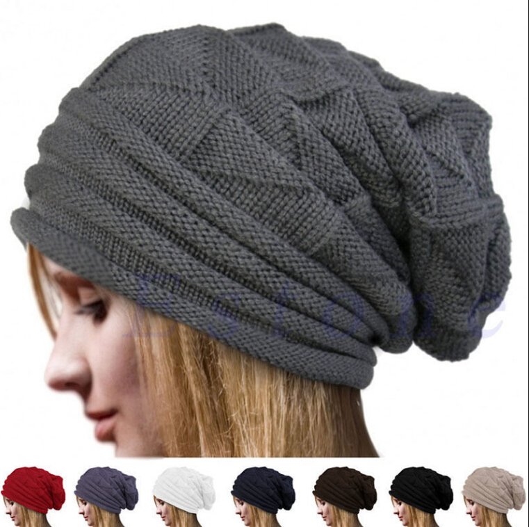 72ee9d15114 Beanie Skull Cap Unisex Cashmere Wool Knit Winter Hat Beanies For Men Women  NEW Oversize Baggy