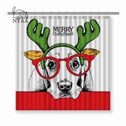 Nyaa Kerst Poster van een Hond Basset Hound Portret in Masker Santa's Antler Rendier Bril Polyester Stof Douchegordijnen