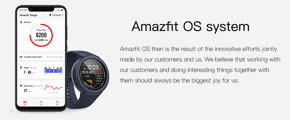 Amazfit Verge Unisex Smartwatch Operating System