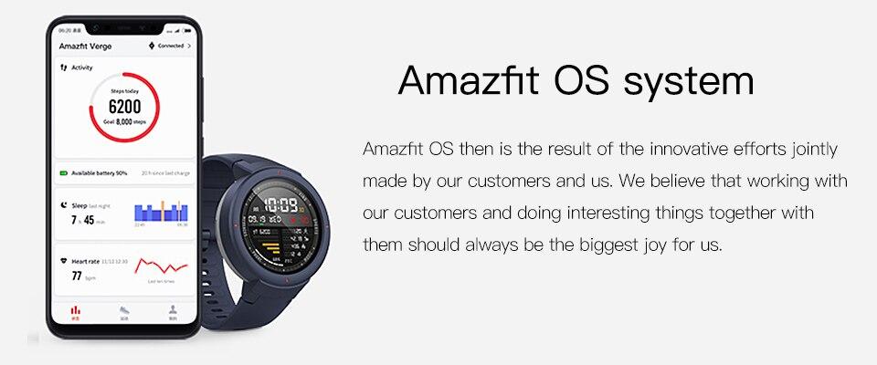 Amazfit Verge Unisex Smartwatch Operating System