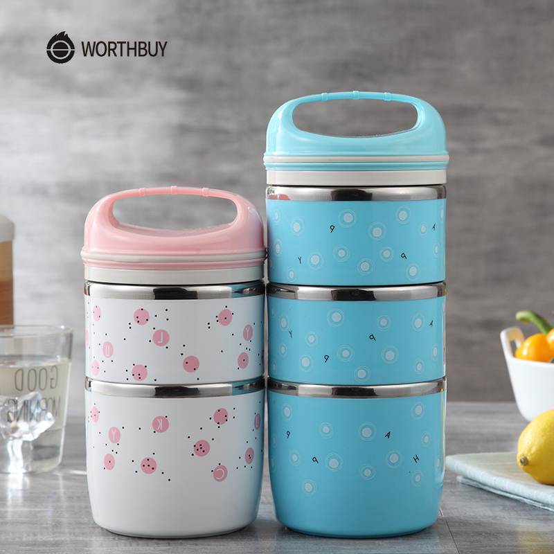 WORTHBUY New Arrival Japanese Lunch Box For Children Portable Leak-Proof Food Container Stainless Steel Kids Thermal Bento Box