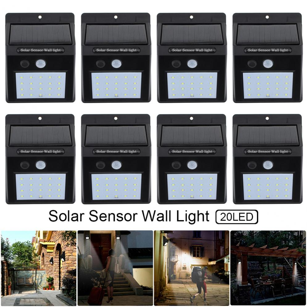 8pcs 20 LED Solar Light Motion Sensor Energy Saving Environmental Protection Wall Lamp Outdoor Waterproof Courtyard Light m 2016 newest led acrylic wall lamp real energy saving and environmental protection l26 w13 exquisite and delicate for bedroom