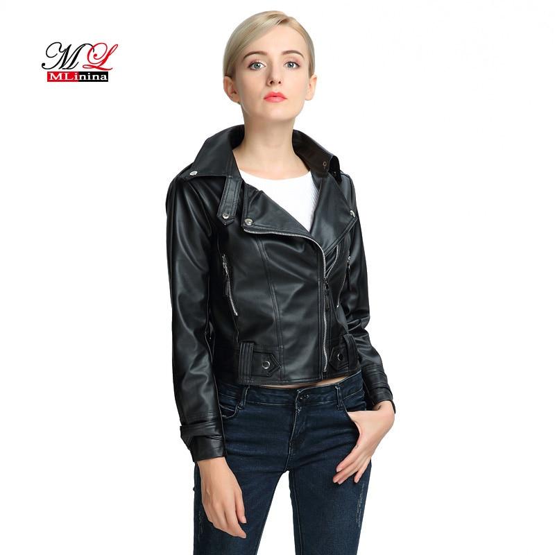 MLinina Autumn Winter Woman Soft Slim Pu Faux Women Short Pink   Leather   Jacket Motorcycle Outwear 2019 New Fashion Jackets Coat