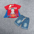 2-7 yrs 2016 New Summer Superman Children Clothing Sets boys Kids clothes fashion T-shirt+jeans 2 pcs set Baby Costume retail