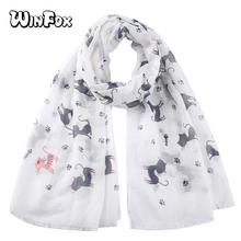 Winfox Kawaii Cat Paw Fish Scarf Grey Pink Female Animal Print Soft Long Scarfs Shawls For Women Ladies Stole Muslim Hijab