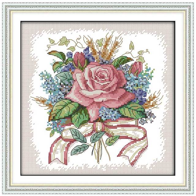 A Bunch Of Flowers Patterns Counted Cross Stitch 40CT 40CT Cross Inspiration Cross Stitch Flower Patterns