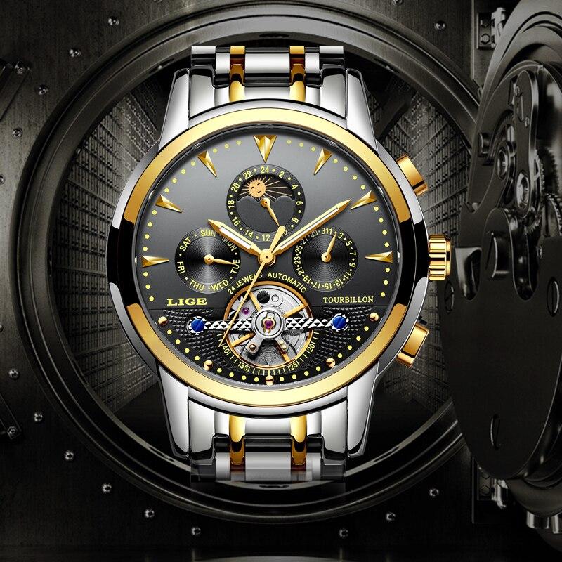 Relogio LIGE Новый Для Мужчин's Элитный бренд Механическая Tourbillon Сталь часы Moon Водонепроницаемый Для мужчин смотреть Бизнес отдыха Wristatch