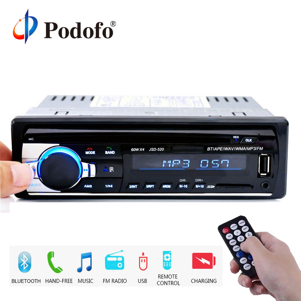 Podofo 1DIN In-Dash Car Radios Stereo Remote Control Digital Bluetooth Audio Music Stereo 12V Car Radio Mp3 Player USB/SD/AUX-IN usb battery bank charger