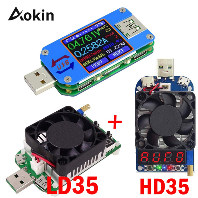 USB 2.0 Type-C LCD Voltmeter Ammeter Voltage Current Meter Battery Charge Measure UM25 UM25C For APP With 35W LD35 HD35 Load