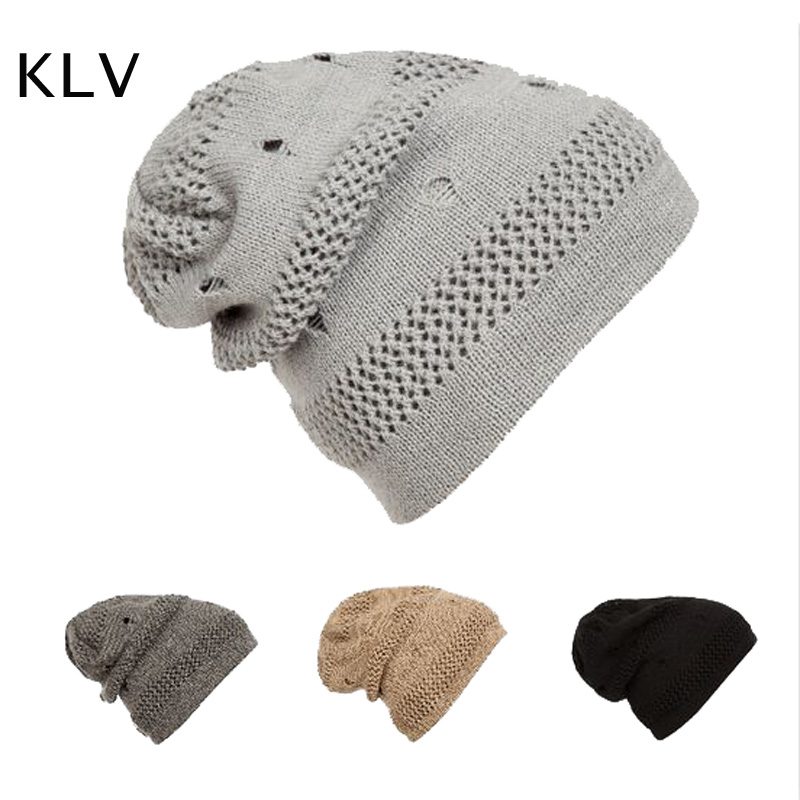 2016 Fashion Grid Knitting Beanies Hat for Women Solid Hip Hop Cap Men and Women Winter Outdoor Warm Gorro Hats Skull Hats the new 2016 han edition affixed cloth wave cap hat hat tip to keep warm letter knitting hat qiu dong men and women
