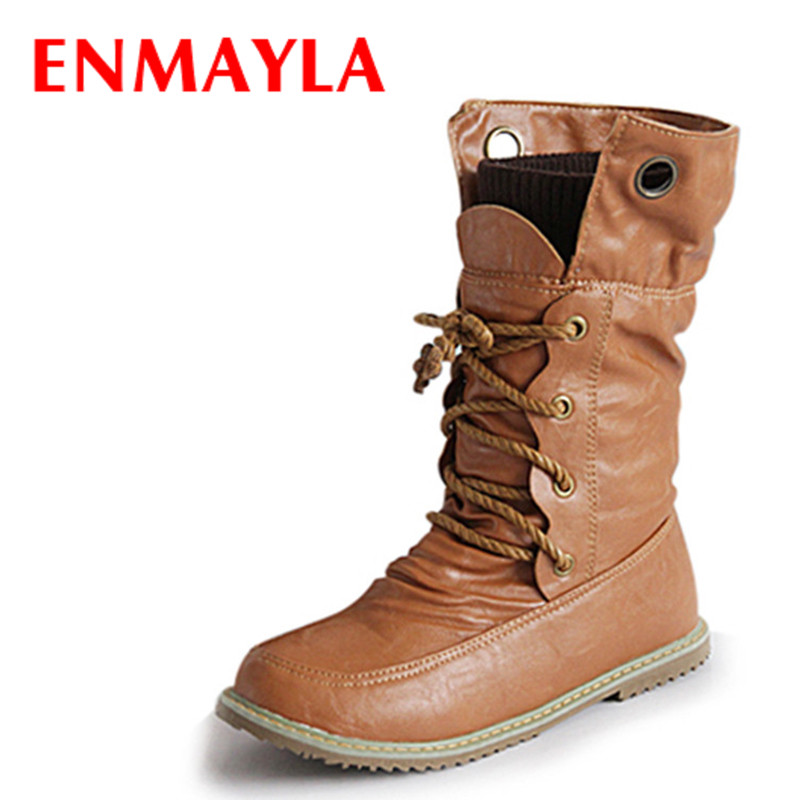ENMAYLA Fashion Lace-up Half Motorcycle Boots for Women Winter Flats Western Boots Shoes Woman PU Snow Boots Plus Size 43 Yellow