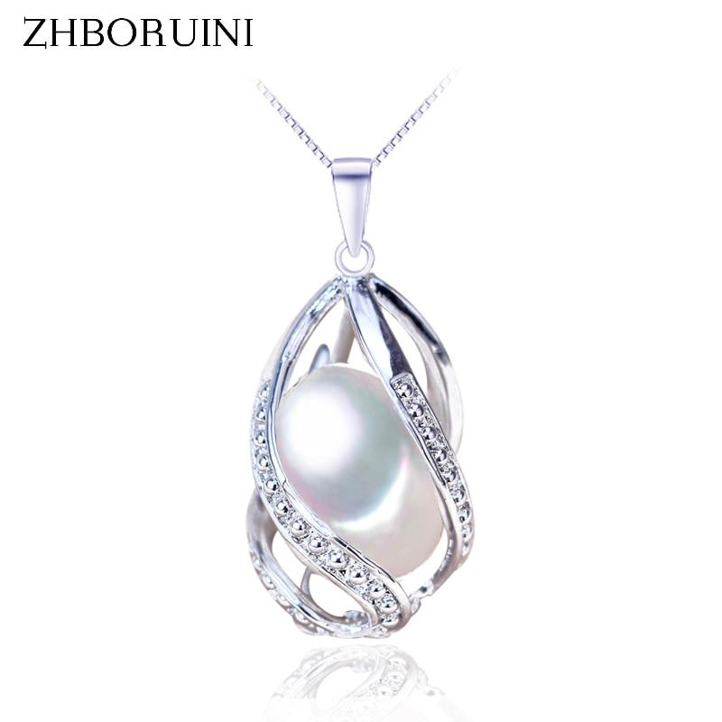 Zhboruini Mode Perle Halskette Perle Schmuck Bogen Große Natürliche Perle Anhänger 925 Sterling Silber Schmuck Für Frauen Großhandel Anhänger