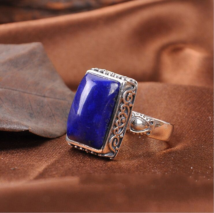 цена на Can Tong Lapis factory direct supply of the original family name wind natural Lapis Thai silver inlaid jewelry ring