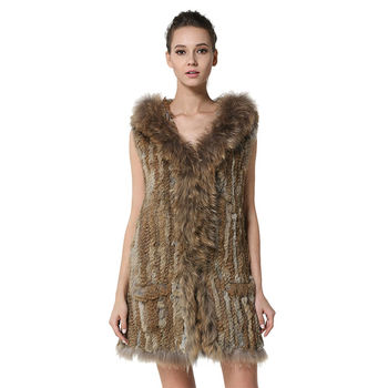 Classica Womens Knitted Rabbit Fur Long Vests with Raccoon Fur Hooded Real Fur Waistcoat with Pockets Gilet LX00001