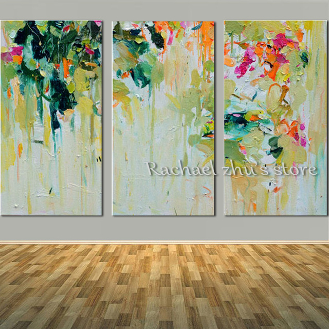 Hand Painted Colorful Abstract Oil Painting On Canvas Three Pieces Thick Texrued Wall Camvas Art Picture