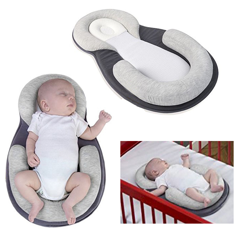 Portable Baby Crib Newborn Anti-head Tilt Carry Cot Head Locator Pillow Nursery Nest Sleeping Bag Infant Cradle Bedding Set 040L