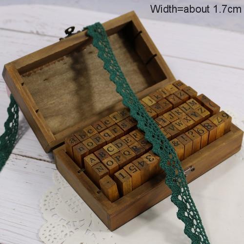 Zakka Стиль хлопковая кружевная лента швейная лента, бежевая Кружевная Сетка, крутая кружевная тесьма(17 мм x 50 ярдов - Цвет: Dark Green